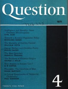 New Humanist – Question, January 1971